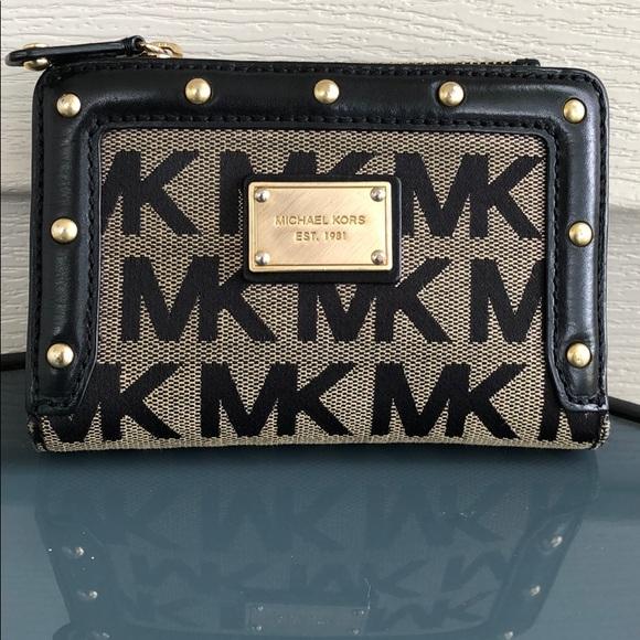 Michael Kors Handbags - Michael Kors studded logo black wallet leather MK